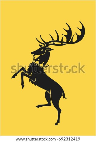 Stock Photo Redraw of House Baratheon Heraldic Sign. A song of Ice and Fire Great House Heraldry. Game of Thrones heraldic vector sign. Great Houses of Westeros. CMYK. A4 size.