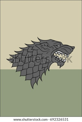 Stock Photo Redraw of House Stark Heraldic Sign. A Song of Ice and Fire Heraldry. Great Houses of Westeros. Vector Heraldry. Vector. A4 Size. CMYK.