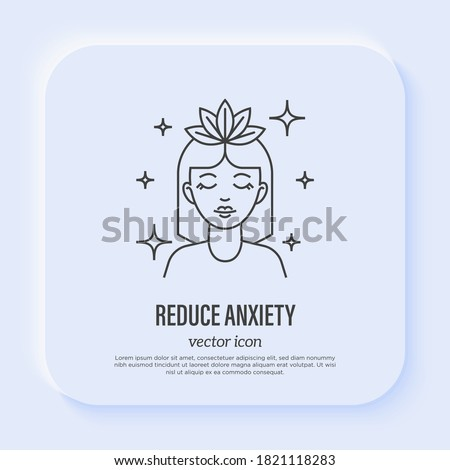 Reduce anxiety: young woman with closed eyes relaxing. Meditation. Relieve headache, migraine. Thin line icon. Vector illustration. Stock photo ©