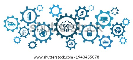 Reduce carbon dioxide emissions to limit global warming and climate change. Lower CO2 levels with sustainable development as renewable energy and electric vehicles - stock vector Stock photo ©