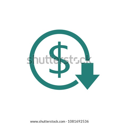 Reduce costs icon. Money clip art isolated on white background