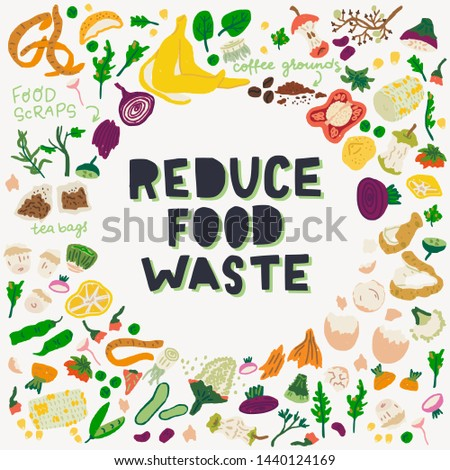 Reduce Food Waste hand lettering call to action in a frame made of food scraps. Eco-friendly zero waste concept message about deliberate consumption and sustainable living for blogs, magazines, events