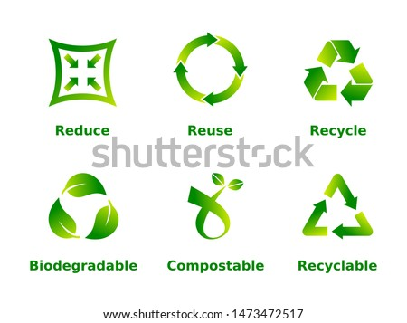 Reduce, reuse, recycle, biodegradable, compostable, recyclable, icon set. Six recycle green gradient signs on white background. Zero waste,ecofriendly,concept. Vector illustration,flat style,clip art.