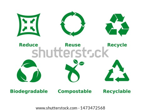 Reduce, reuse, recycle, biodegradable, compostable, recyclable, icon set. Six recycling concept signs on white background. Zero waste, ecofriendly, concept. Vector illustration, flat style, clip art. Foto stock ©