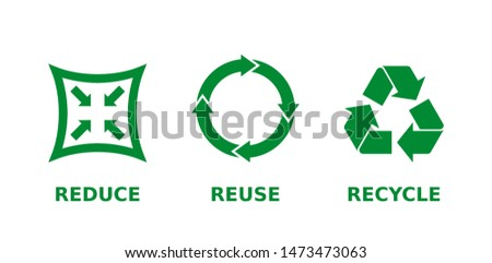 Reduce, reuse, recycle icon set. Ecology, zero waste, sustainability, conscious consumerism, renew, concept. Three different green recycle, reduce, reuse signs. Vector illustration,flat style,clip art Foto stock ©