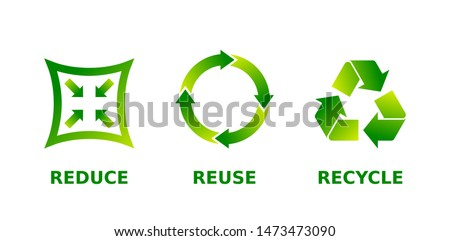 Reduce, reuse, recycle sign set. Three different green gradient recycle, reduce, reuse icons. Ecology, sustainability, conscious consumerism, renew, concept. Vector illustration, flat style, clip art. Foto stock ©
