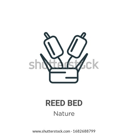 reed bed outline vector icon