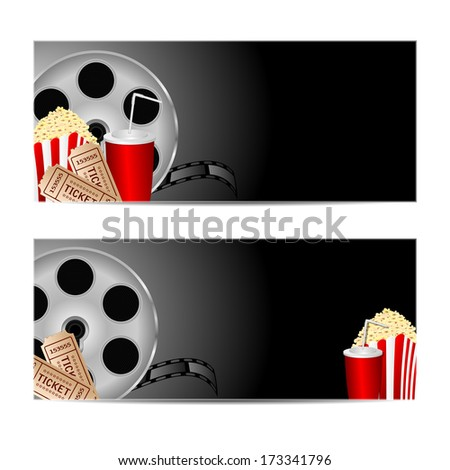 reel of film with popcorn and a drink on a black background.set backgrounds for cinema.vector