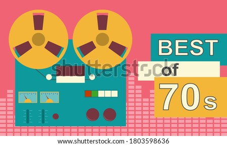 Reel-to-reel tape recorder. Retro banner with reel-to-reel tape recorder and tape. Vector, cartoon illustration. Vector.