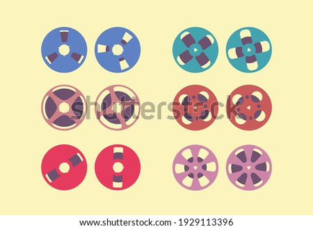 Reel to reel tape set of vintage retro. Music on reel-to-reel tape recorder. Magnetic tape. Analog audio recording on tape.Hi-Fi electronic stereo system. Color flat stock vector illustration isolated