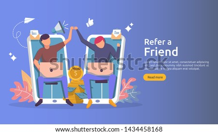 refer a friend affiliate partnership and earn money. marketing concept strategy. people character sharing referral business. template for web landing page, banner, presentation,poster, or print media