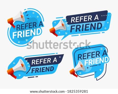 Refer a friend banner label badge set. referral program vector illustration Stock photo ©