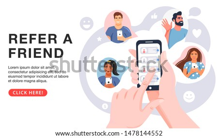Refer a friend concept. Hands holding phone with contacts of friends. Business partnership strategy with group of people. Social media marketing for friends. Landing page template. Vector.
