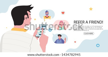 Refer a friend concept with a man holding a phone with a list of her friends contacts. Refferal marketing strategy  banner, landing page template, ui, web, mobile app, poster, banner, flyer.