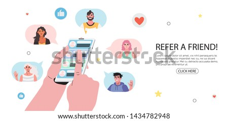 Refer a friend concept with cartoon hands holding a phone with a list of friends contacts. Refferal marketing strategy  banner, landing page template, ui, web, mobile app, poster, banner, flyer.