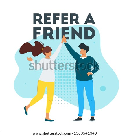 Refer a friend marketing design with  man and woman silhouette giving a high five. Advertising concept. Vector illustration isolated on white background.