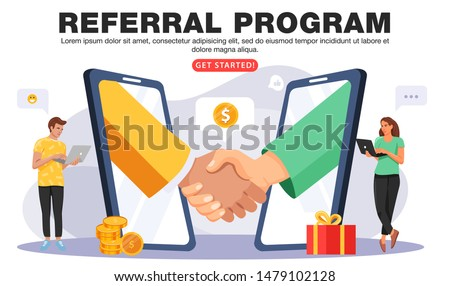 Refer a friend or Referral marketing concept. Business people shaking hands in big smartphone. People share info about referral program. Social media marketing for friends. Vector.
