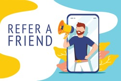 Refer a friend vector illustration concept, people shout on megaphone with refer a friend word, can use for landing page, template, ui, web, mobile app, poster banner or flyer. Digital business