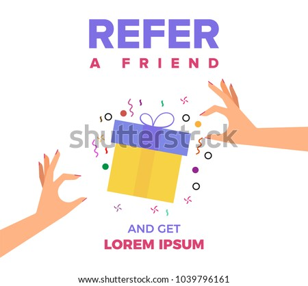 Refer a Friend Vector Illustration of two Hands and Gift Box. Friend Sharing Referral Code Concept