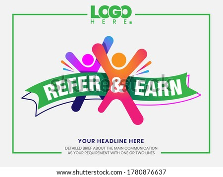 Refer and earn design template. Design layout for recruiters. Creative concept for human resources.