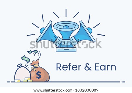 Refer and Earn, Refer a friend or Referral marketing concept. Suitable for web landing page, UI, mobile app, banner template, affiliate marketing, online business. Invite friends, earn prizes. Vector.