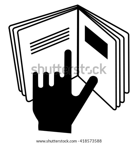 Refer to insert cosmetics symbol , a hand pointing at a book icon , vector illustration