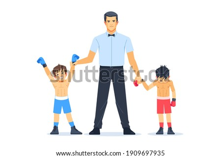 Referee lighting hand of winner standing with loser in boxing ring. Professional Boxing among boys Concept of sports and healthy lifestyle. Cartoon vector illustration isolated on white background.