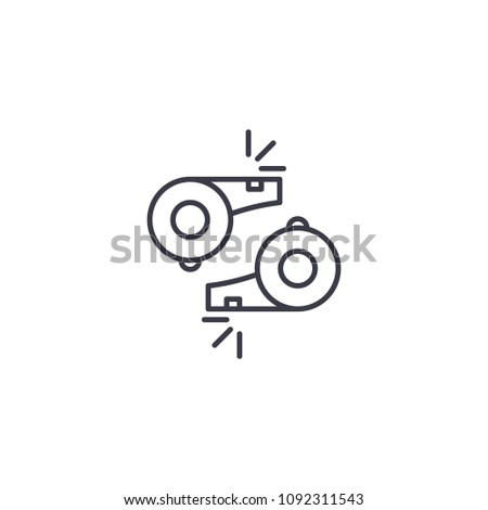 Referee's whistle linear icon concept. Referee's whistle line vector sign, symbol, illustration.