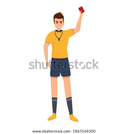 Referee show red card icon. Cartoon of referee show red card vector icon for web design isolated on white background