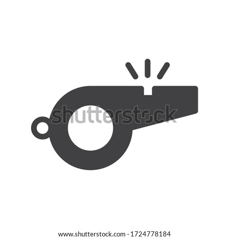 Referee whistle icon. Whistle vector flat sign design. Whistle symbol pictogram