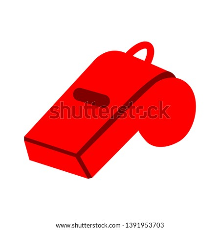 Referee whistle vector illustration isolated on white background. Referee whistle vector object for labels, logos and advertising