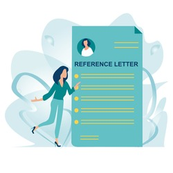 Reference letter. Recommendation letter. Employment reference. Job application. Job search concept. Unemployment Woman stand near big letter. Job hiring and online recruitment concept. Flat vector.