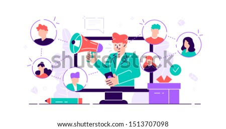 Referral concept. Marketing consumer audience communication service for influencer advertising. Products promotion persons. New customers word of mouth engagement method. Flat tiny vector illustration