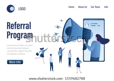 Referral program landing page template.Woman with loudspeaker and various businesspeople. Customer attraction or promotion campaign. Influencer and Target marketing and advertising.Vector illustration