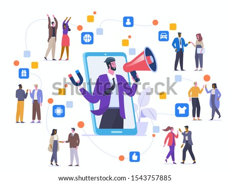 Referral program strategy flat vector illustration. Friends communicating and promoting each other goods cartoon characters. Internet marketing. Affiliate network. Word of mouth marketing method Foto stock ©