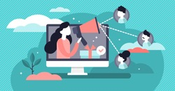 Referral vector illustration. Flat tiny products promotion persons concept. New customers word of mouth engagement method. Marketing consumer audience communication service for influencer advertising.