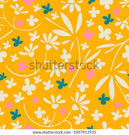 Refine floral seamless pattern. Hand drawn vector illustration. Lush colors. Tropical flora.