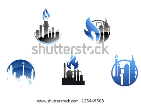 Refinery factory icons and symbols for industry design, also a logo idea. Jpeg version also available in gallery