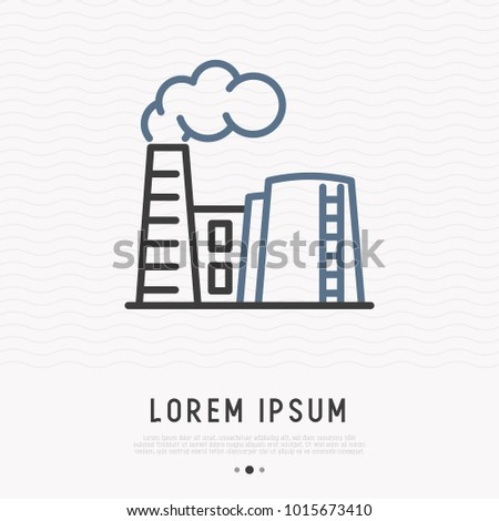 Refinery thin line icon. Modern vector illustration of factory with smoke from chimney.