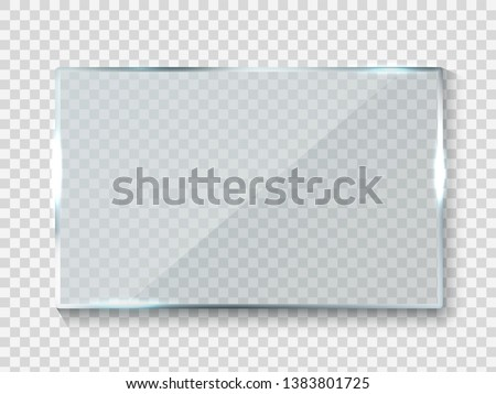 Reflecting glass banner. Gloss rectangle reflection 3d panel texture or clear window on transparent display background vector frame
