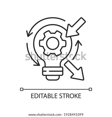 Reflection linear icon. High skill thinking and analysing. Proffesional argumentation. Thin line customizable illustration. Contour symbol. Vector isolated outline drawing. Editable stroke Stock foto ©