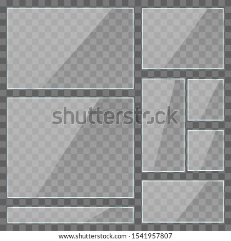 Reflective glass banner. Glitter rectangle reflection of 3d texture panel or transparent window on transparent vector display frame