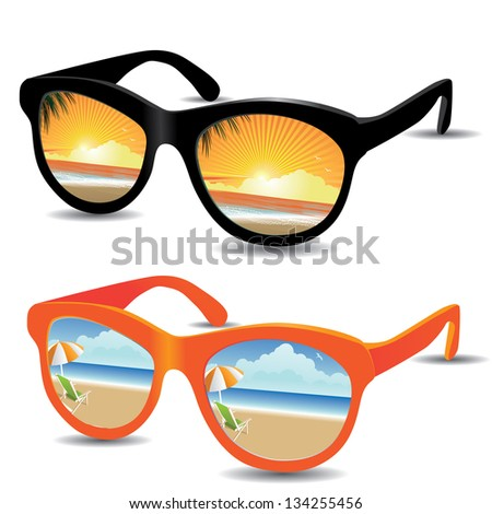 Reflective sunglasses with beach sunrise/sunset and sunny day. EPS 8 vector, grouped for easy editing. No open shapes or paths.