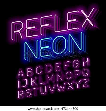 Reflex Neon font vector illustration