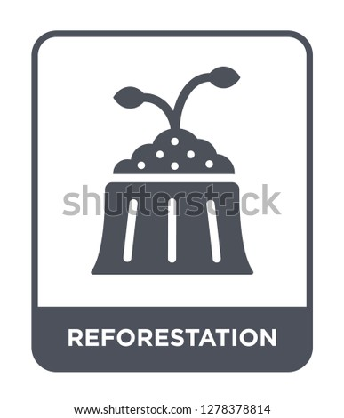 reforestation icon vector on white background, reforestation trendy filled icons from Charity collection, reforestation vector illustration