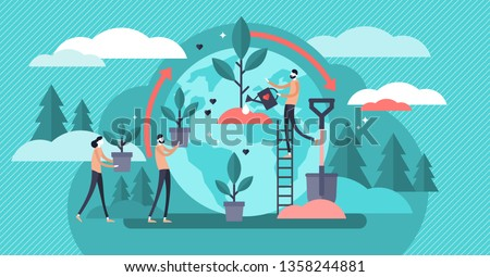 Reforestation vector illustration. Flat tiny forest planting persons concept. Environmental agriculture to save earth ecology. Sustainable green life nature care development for fresh and clean air.