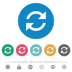 Refresh arrows flat white icons on round color backgrounds. 6 bonus icons included.