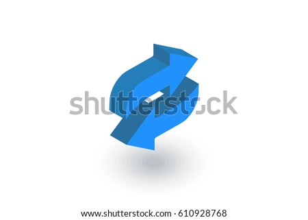 Refresh Arrows isometric flat icon. 3d vector colorful illustration. Pictogram isolated on white background