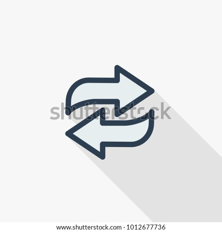 Refresh Arrows thin line flat color icon. Linear vector illustration. Pictogram isolated on white background. Colorful long shadow design.