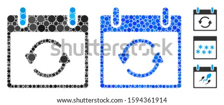 Refresh calendar day composition of round dots in various sizes and color tones, based on refresh calendar day icon. Vector round dots are composed into blue composition.